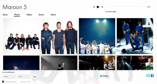 Maroon 5's BandPage Website