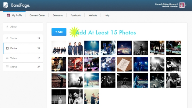 Add At Least 15 Photos to your BandPage Profile