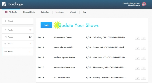 Keep Your Tour Dates Up-To-Date