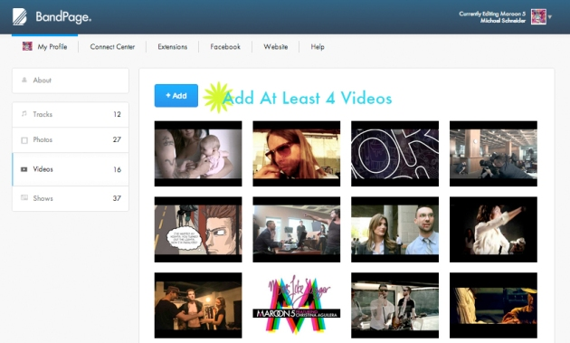 Add At Least 4 Videos to Your BandPage Profile.
