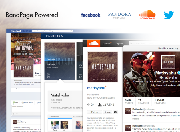 BandPage Powers Twitter, Facebook, Pandora and SoundCloud
