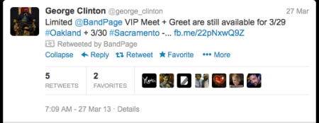 George Clinton's Tweet about BandPage Experiences