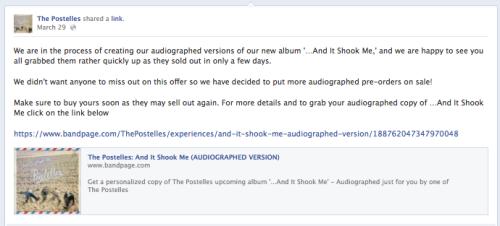 The Postelles' Facebook post